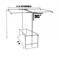 Puesto ambulante con mesa y techo - Extensible